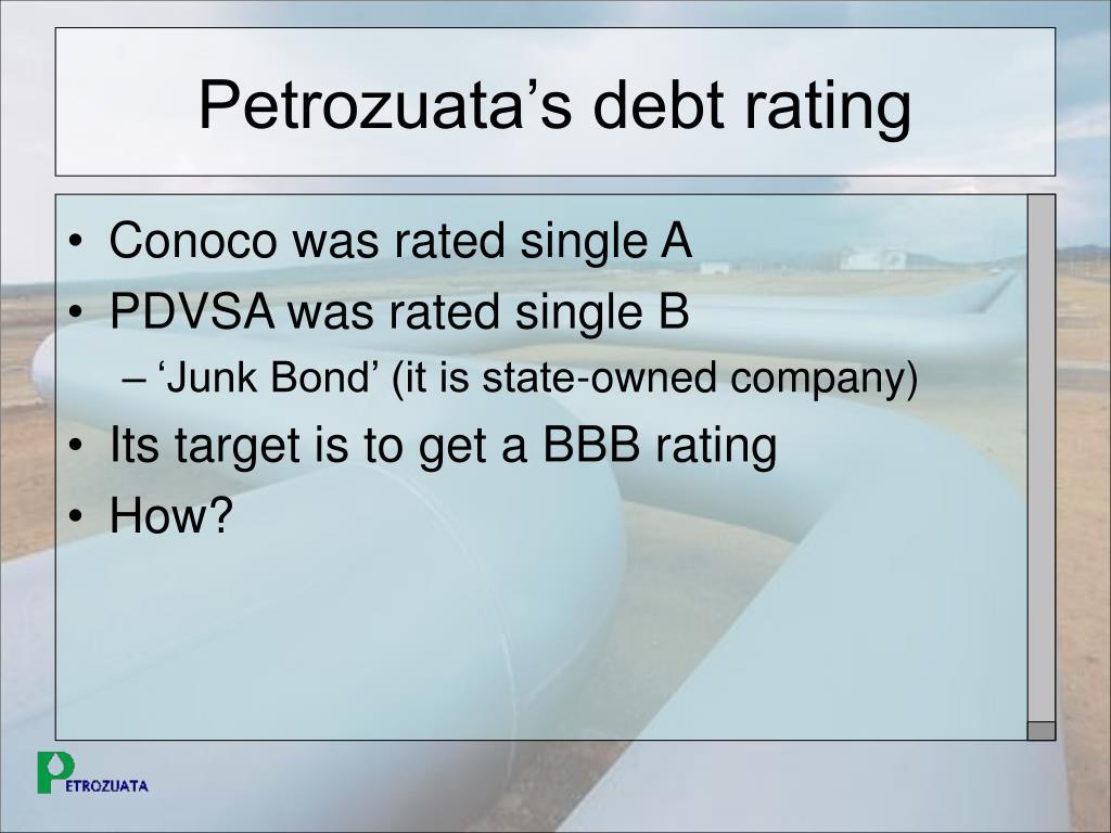 Petrozuata's debt rating