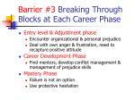 barrier 3 breaking through blocks at each career phase