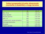 fattori prognostici di esito sfavorevole mortalit o disabilit a lungo termine