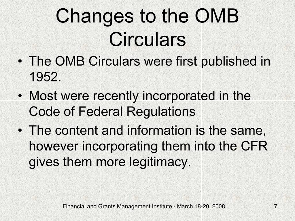 Changes to the OMB Circulars