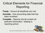 critical elements for financial reporting