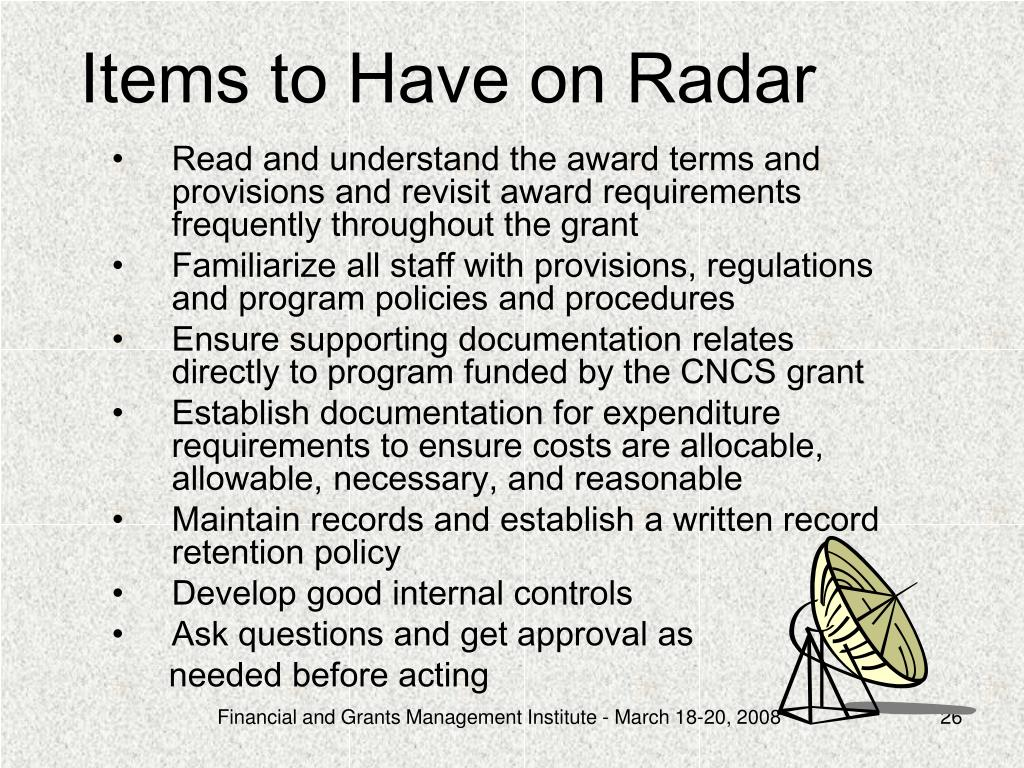 Items to Have on Radar