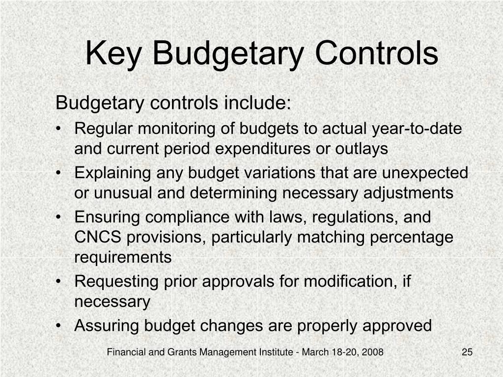 Key Budgetary Controls