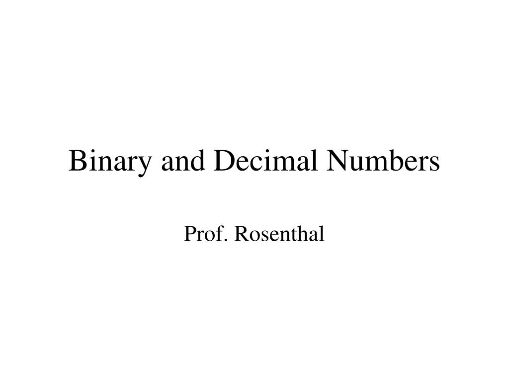 binary and decimal numbers l.