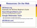 resources on the web