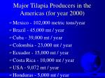major tilapia producers in the americas for year 2000