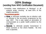 oepa strategy wording from who certification document