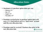 allocation dates