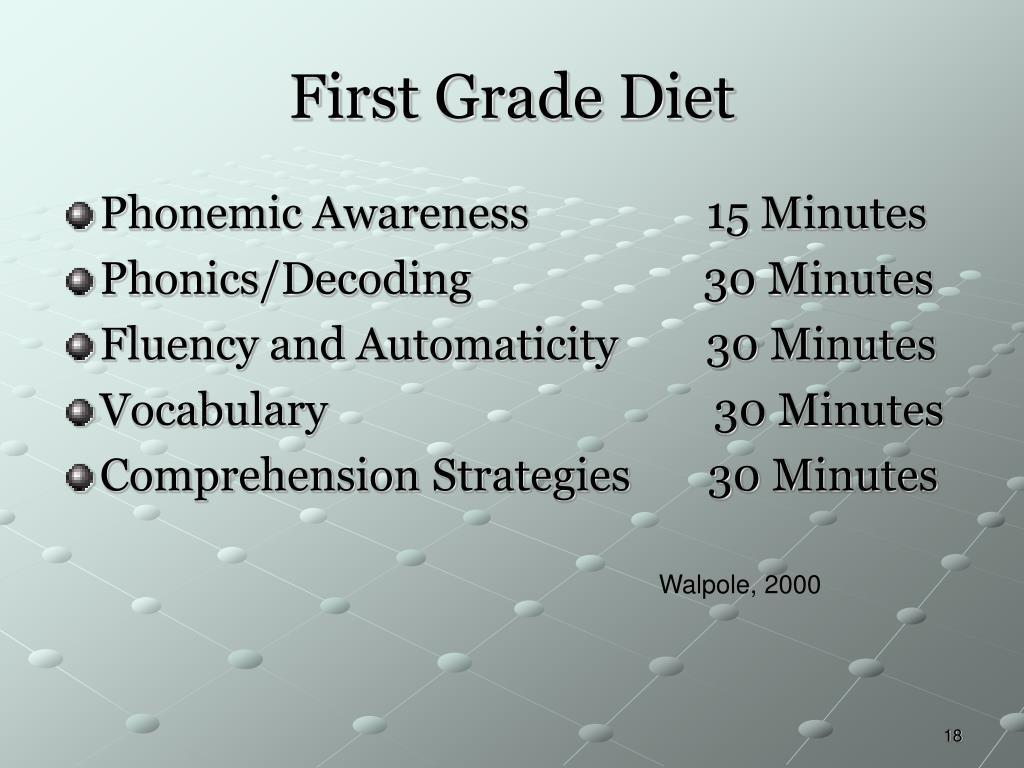 First Grade Diet