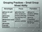 grouping practices small group mixed ability