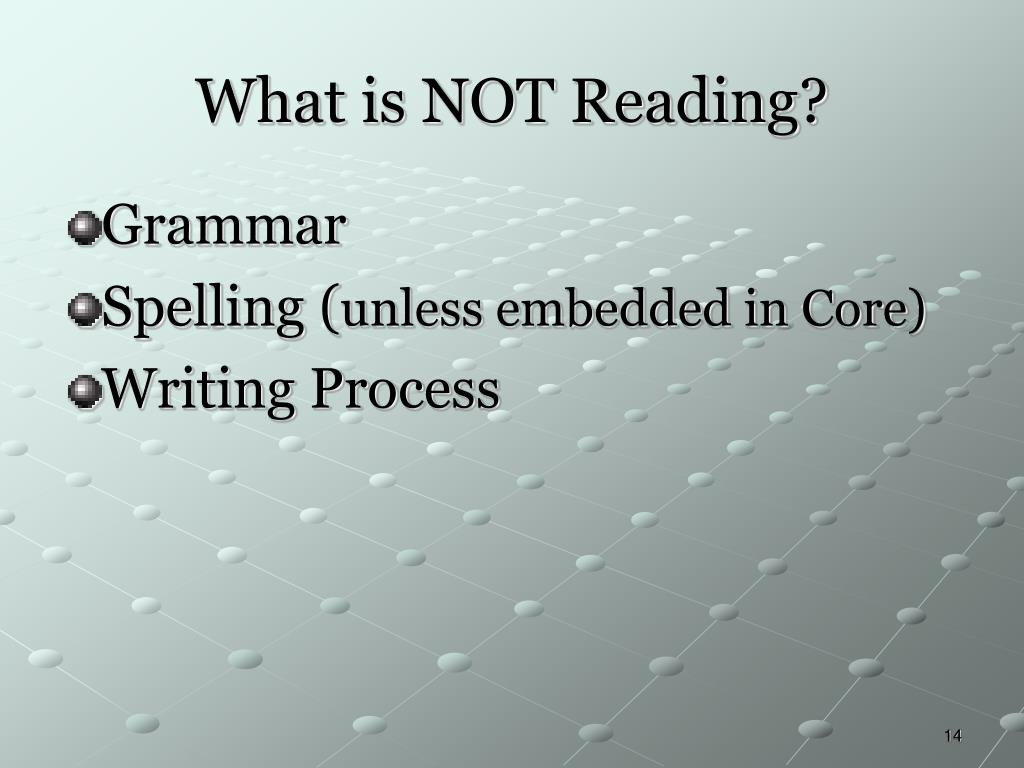 What is NOT Reading?