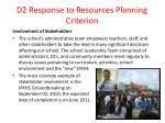 d2 response to resources planning criterion55