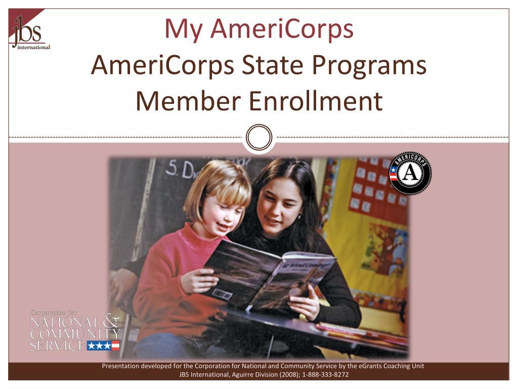 my americorps americorps state programs member enrollment l.