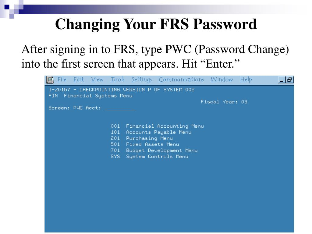 Changing Your FRS Password