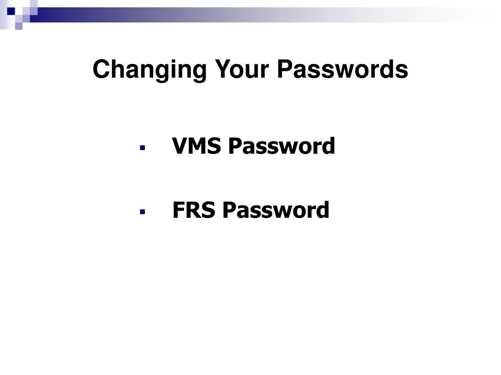 Changing Your Passwords