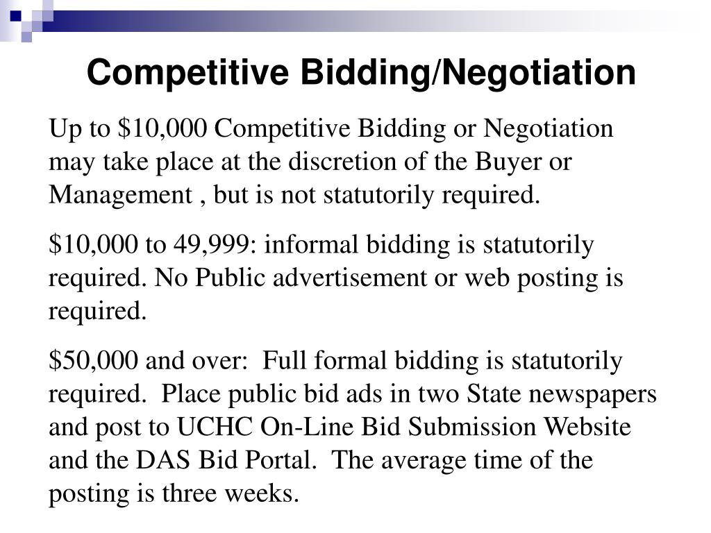 Competitive Bidding/Negotiation