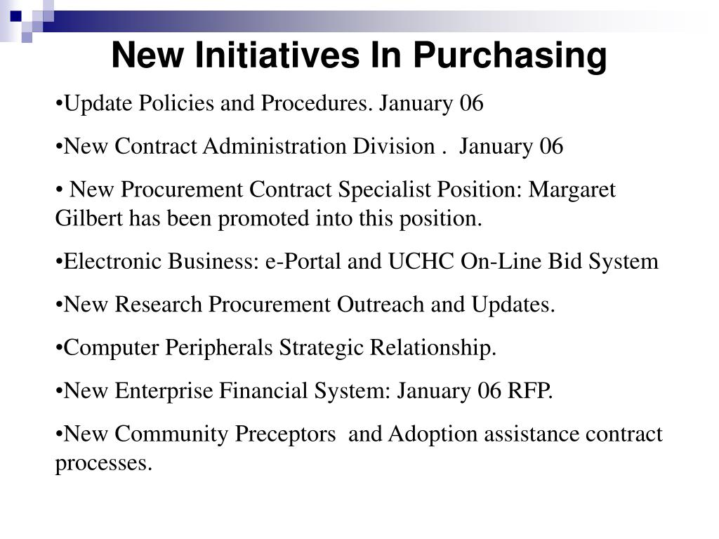 New Initiatives In Purchasing