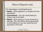 direct deposit cont