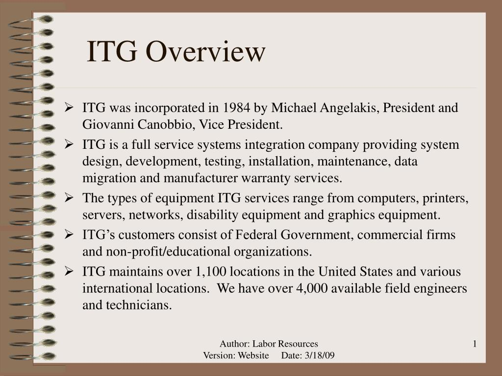itg overview l.
