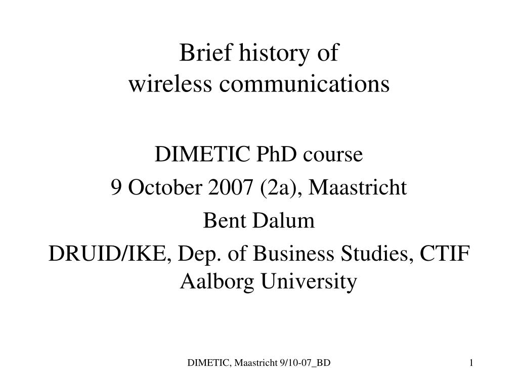 brief history of wireless communications l.