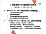customer segmentation values clarification