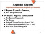 regional reports organized by department prepared by universities
