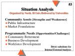 situation analysis organized by north ill univ delivered by universities
