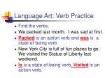language art verb practice