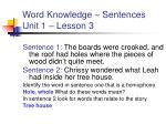 word knowledge sentences unit 1 lesson 3