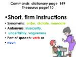 commands dictionary page 149 thesaurus page110