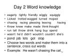 day 2 word knowledge