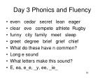 day 3 phonics and fluency