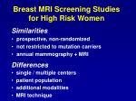 breast mri screening studies for high risk women16
