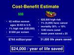 cost benefit estimate