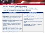 grants funding pilot cont d