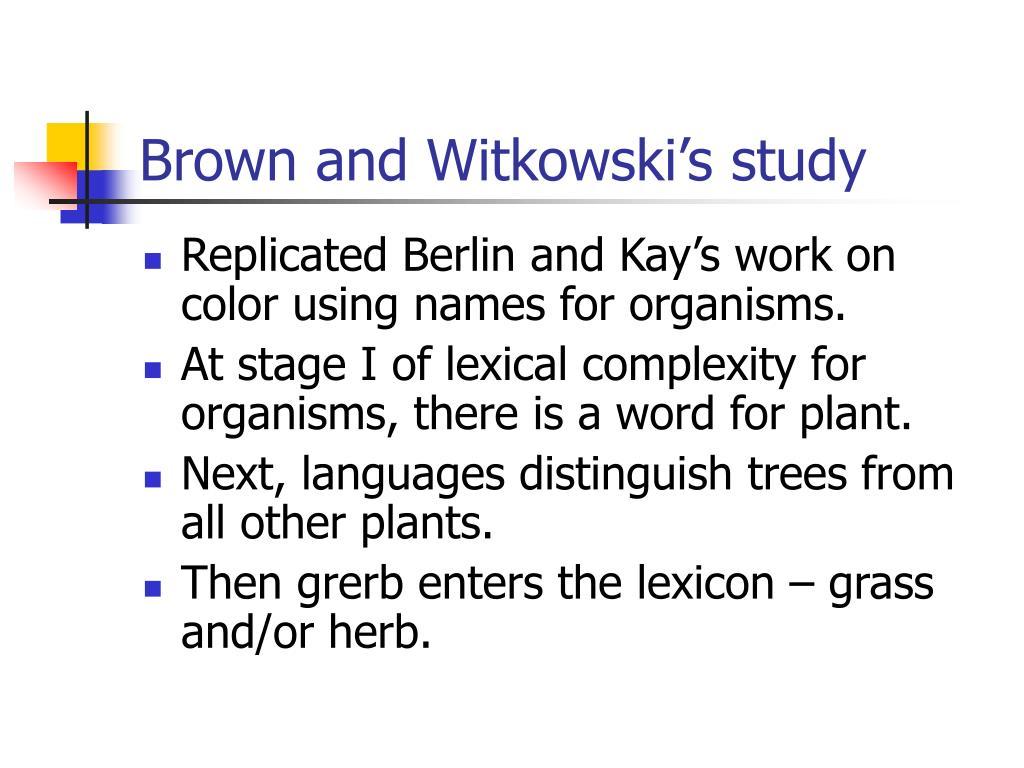 Brown and Witkowski's study
