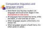 comparative linguistics and language origins