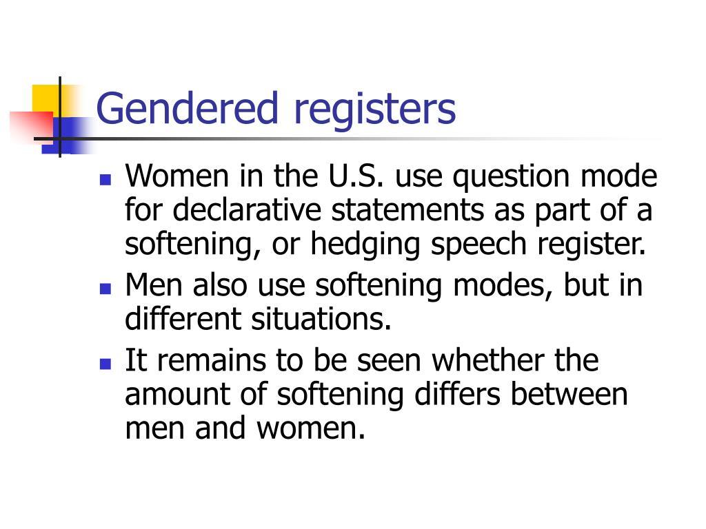 Gendered registers