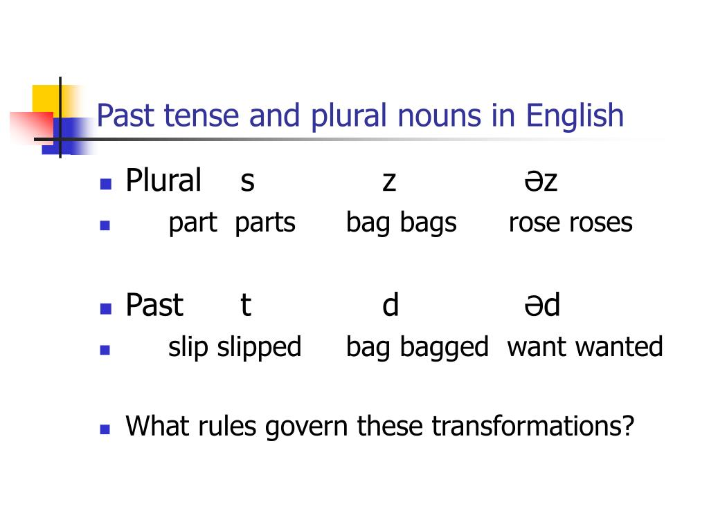 Past tense and plural nouns in English