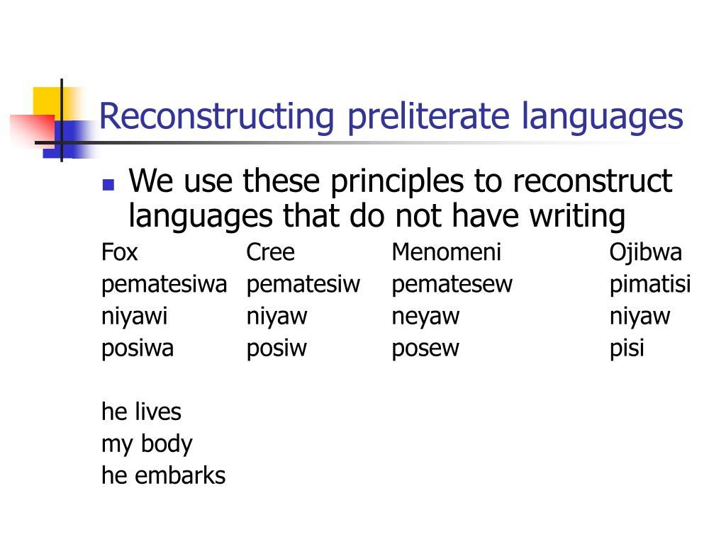 Reconstructing preliterate languages