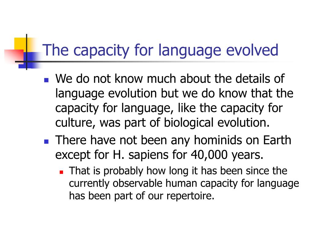 The capacity for language evolved