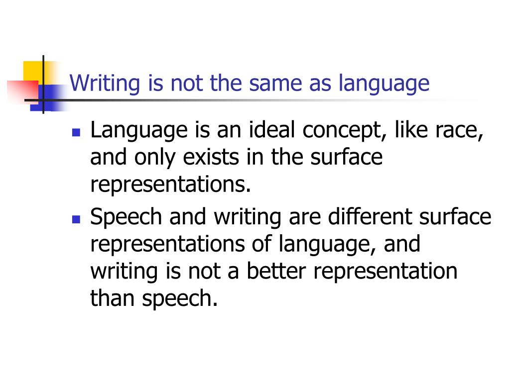 Writing is not the same as language