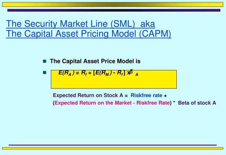 the security market line sml aka the capital asset pricing model capm n.
