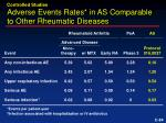 adverse events rates in as comparable to other rheumatic diseases