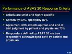performance of asas 20 response criteria28