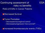 continuing assessment of esa risks vs benefits