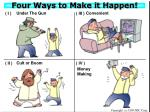 four ways to make it happen
