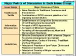 major points of discussion in each issue group11