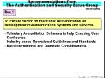 recommendations from the authentication and security issue group18