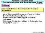 recommendations from the authentication and security issue group20